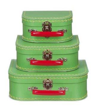 Kinderkoffer  Zacht Groen met Rood Handvat  20 cm