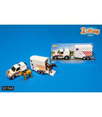 2-Play Traffic 2-Play   Die Cast   Pull Back   Politieauto met Paardentrailer   3+