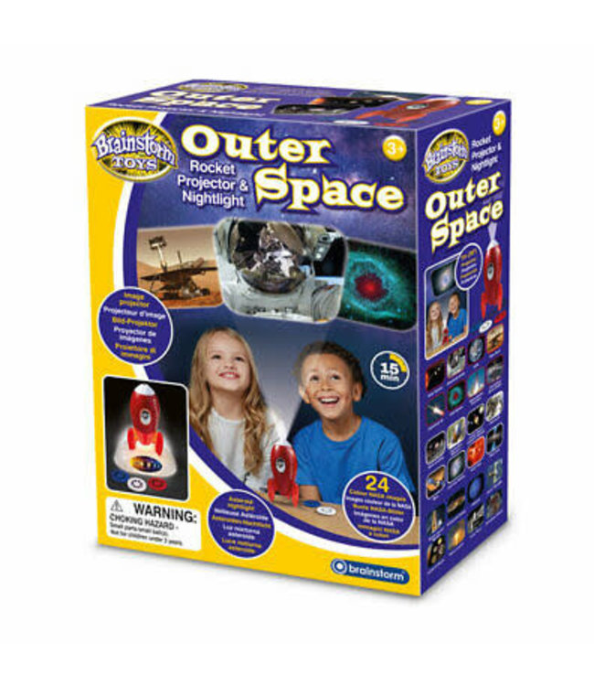 Brainstorm Toys Outer Space Rocket Projector & Nightlight 3+