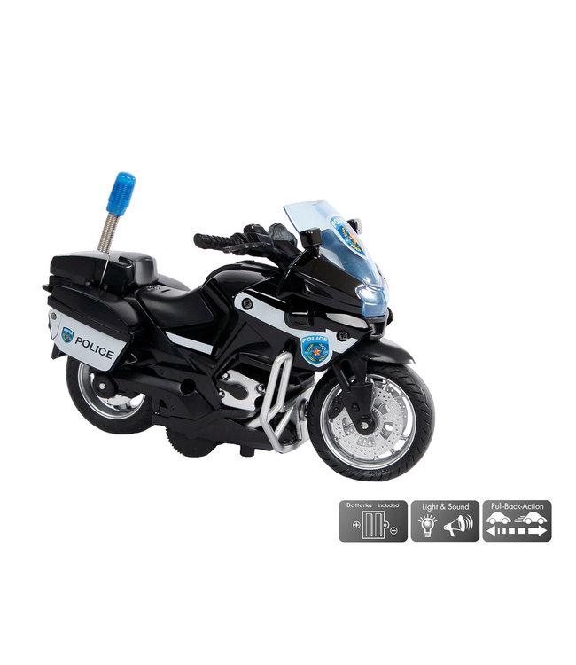 Traffic 2-Play Die Cast Politiemotor USA PullBack 13 cm Licht en Geluid 3+