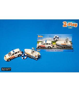 2-Play Traffic 2-Play Die Cast Politieauto + Boottrailer  3+