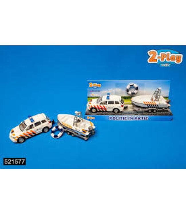 Traffic 2-Play Die Cast Politieauto + Boottrailer  3+