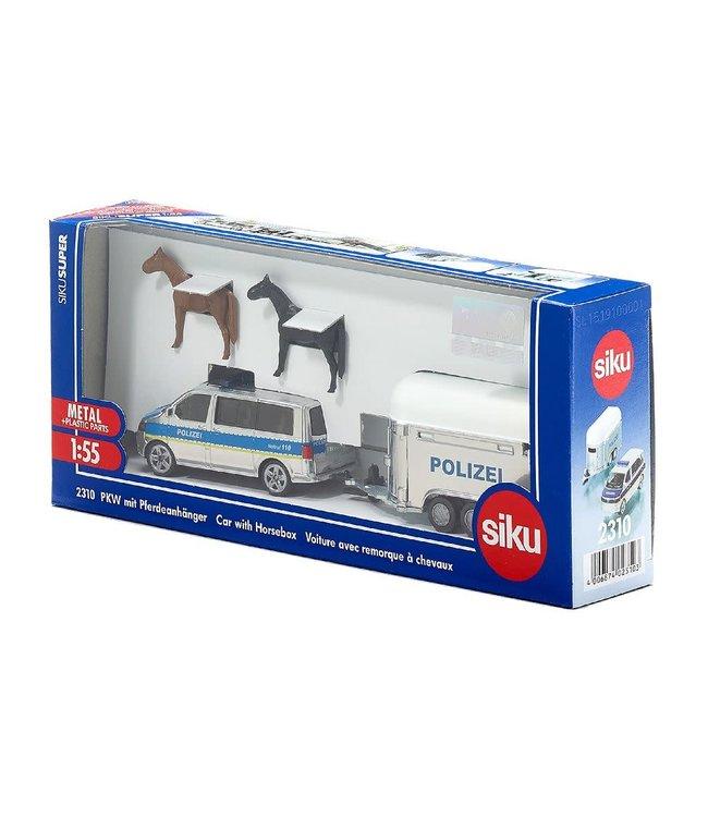 SIKU 1:55 VW Transporter met Politie Paardentrailer
