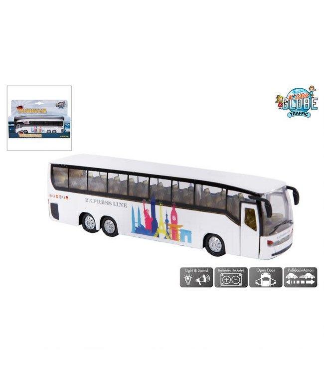 Kids Globe Die Cast Pull back Bus met Licht en Geluid 16 cm 3+