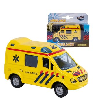Kids GLobe Kids Globe Die Cast Pull Back Ambulance 8,5 cm  3+