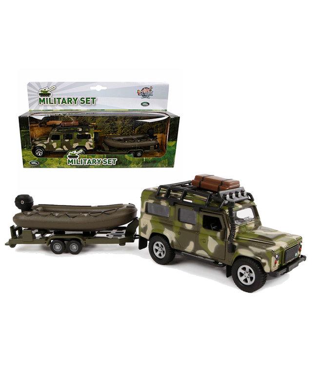 Kids Globe Die Cast Land Rover met boot en aanhanger 27cm  3+