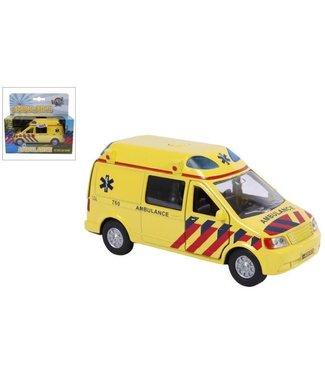 Kids GLobe Kids Globe Die Cast  Ambulance met licht en geluid 15 cm  3+
