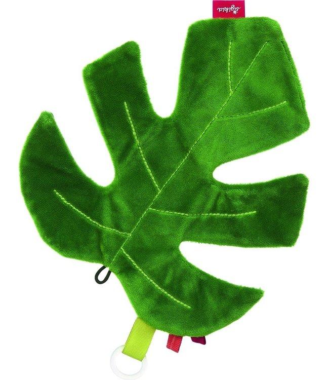 Sigikid   Knisperknuffel   Groen Blad   Mostera   Spenenkoord   22 cm   0+