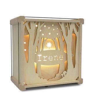 Houtlokael Nachtlampje met Eigen Naam |  Tussen de Bomen