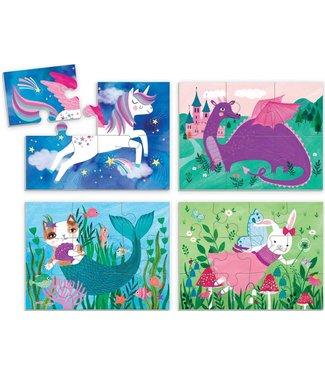 Mudpuppy Mudpuppy Puzzle 4 in a Box Magical Friends 2+