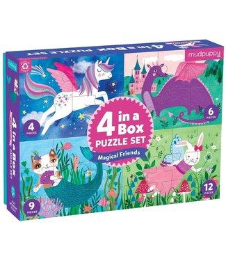 Mudpuppy Mudpuppy | Puzzle | 4 in a Box | Magical Friends | 2+