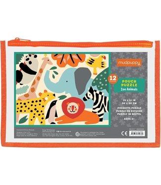 Mudpuppy Mudpuppy Pouch Puzzle Zoo Animals  12 pcs  2+