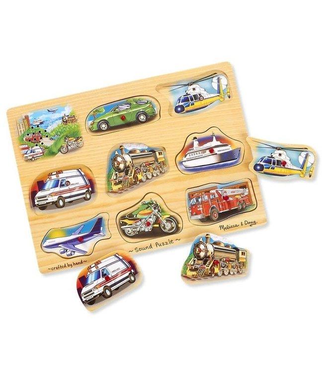 Melissa and Doug Wooden Sound Puzzle Classic Vehicles 8 pcs 1+