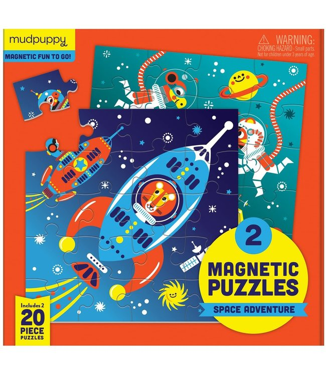 Mudpuppy | Two Magnetic Puzzles | Space Adventure | 20 stukjes | 3+