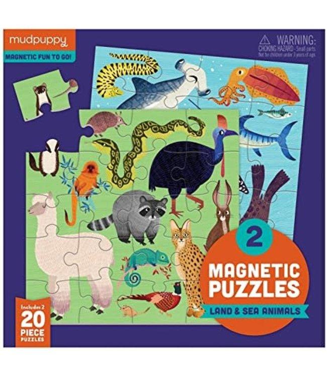 Mudpuppy | Two Magnetic Puzzles | Land and Sea Animals | 20 stukjes | 3+