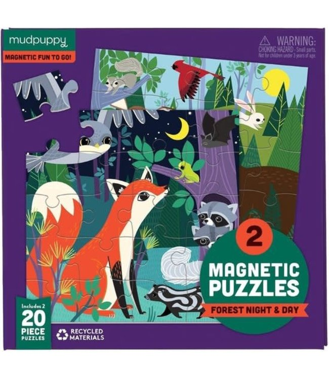 Mudpuppy | Two Magnetic Puzzles | Night and Day | 20 stukjes | 3+