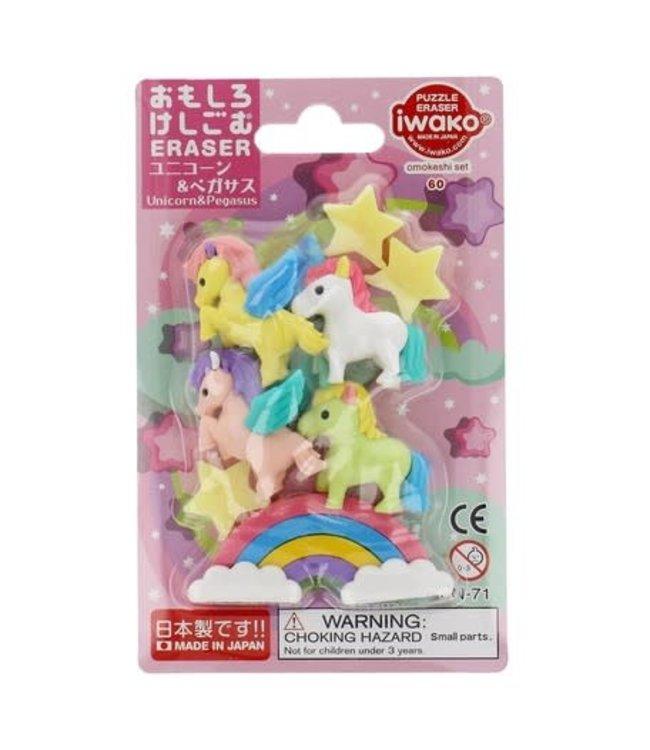 iwako Puzzle Eraser Unicorn & Pegasus Set 3+