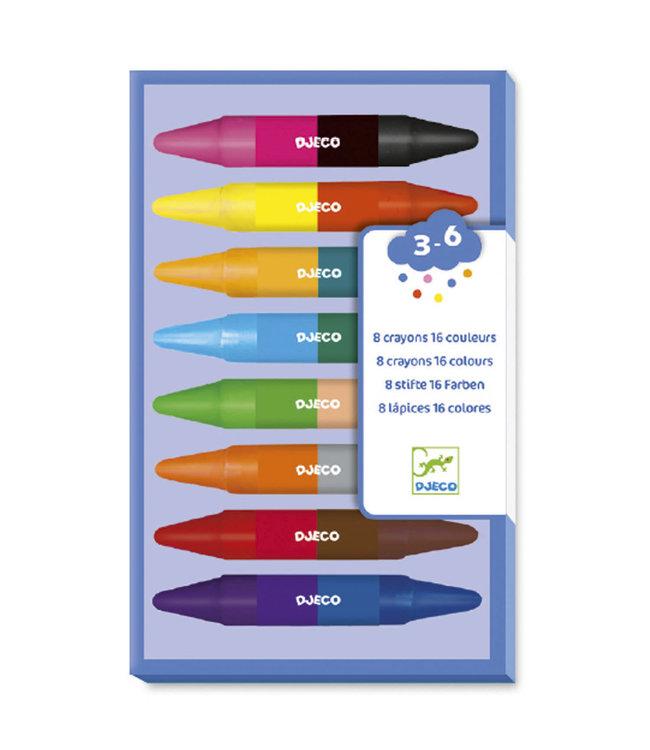 Djeco 8 Twins Crayons 16 Kleuren Waskrijt  3+
