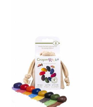 Crayon Rocks Crayon Rocks 8 Colors Soja Waskrijt in Ecru Fluwelen Zakje 3+