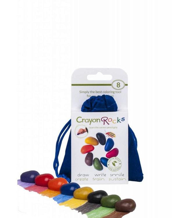 Crayon Rocks 8 Colors Soja Waskrijt in Blauw Fluwelen Zakje 3+