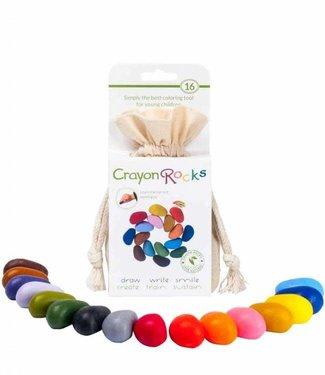 Crayon Rocks Crayon Rocks 16 Colors Soja Waskrijt in Ecru Fluwelen Zakje 3+