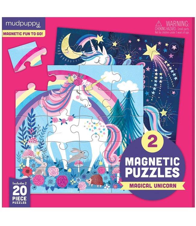 Mudpuppy | Two Magnetic Puzzles | Magical Unicorn | 20 stukjes | 3+