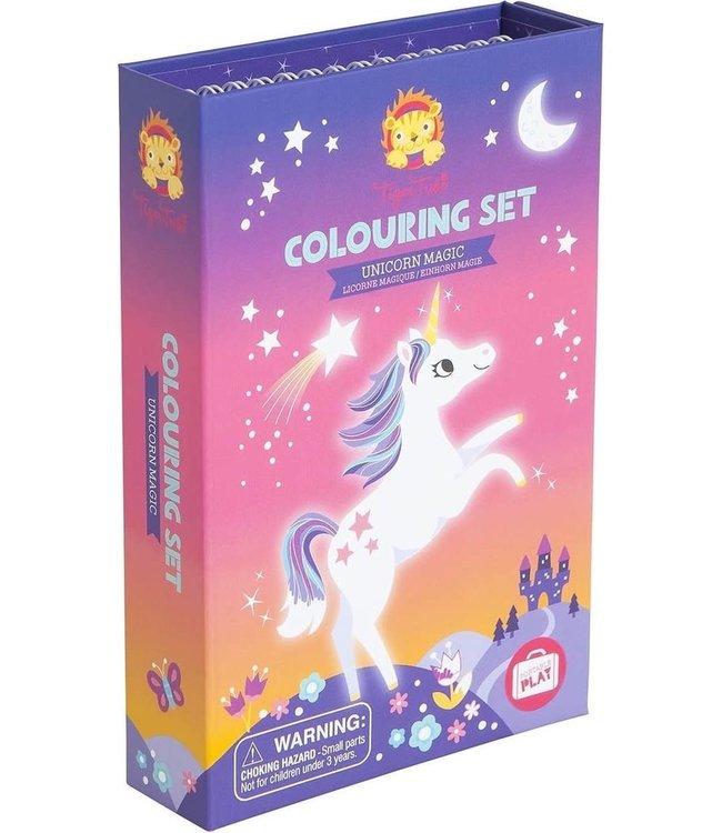 Tiger Tribe | Portable Play | Colouring Set | Unicorn Magic | 3+