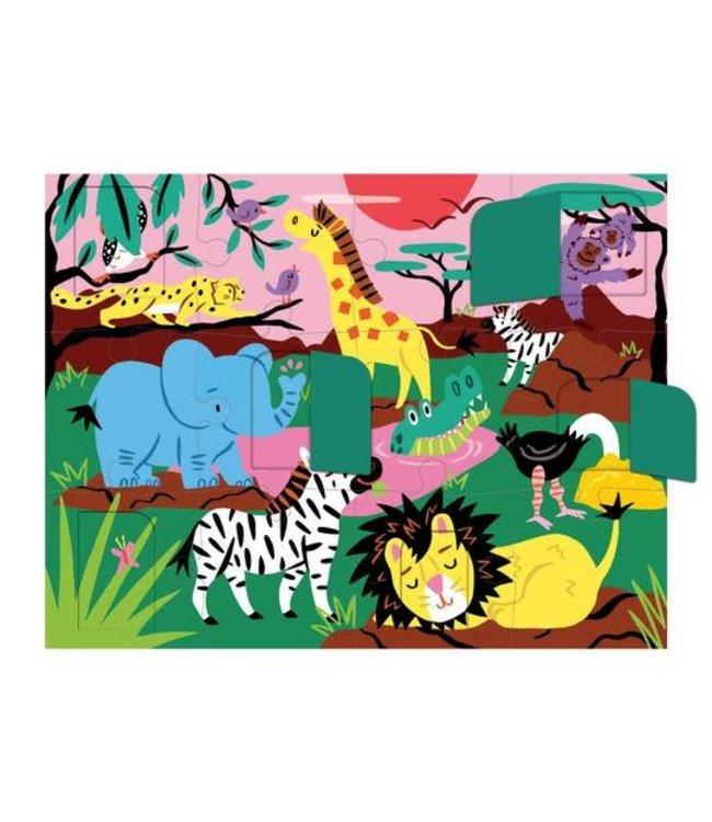 Mudpuppy | Puzzle | Lift-the-flap | On Safari  | 12 delig | 2+