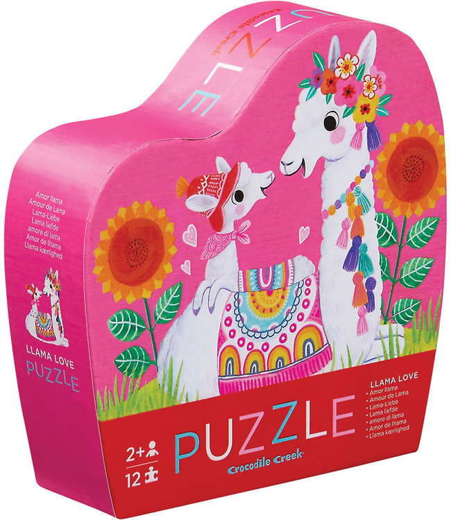 Crocodile Creek | Mini Shaped Puzzle | Llama Love | 12 stukjes | 2+