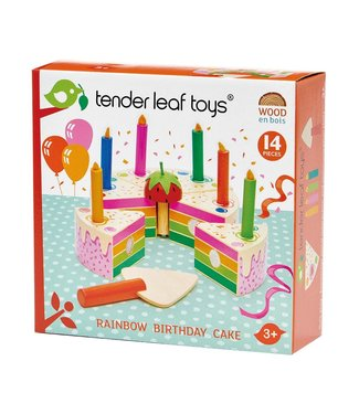Tender Leaf Toys Tender Leaf Toys Rainbow Birthday Cake 14 pcs 3+