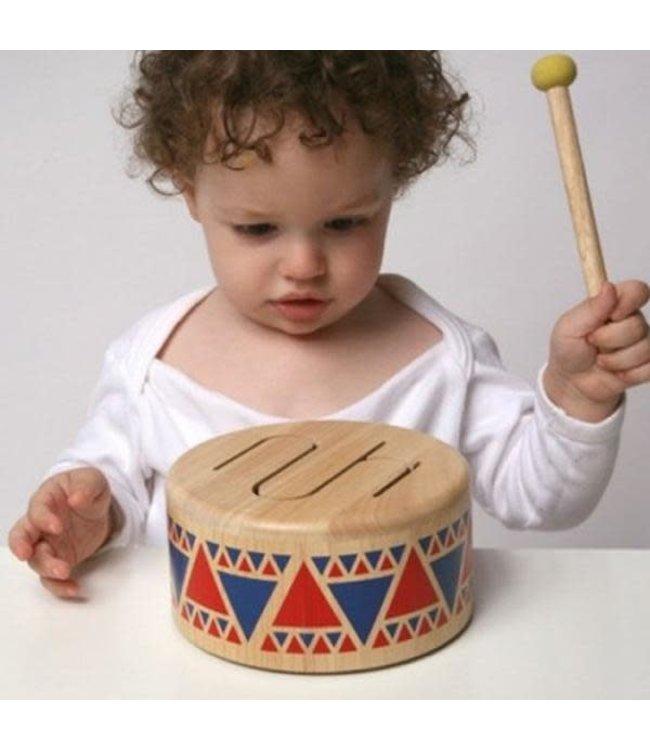 Plan Toys   Solid Wooden Drum   Houten Trommel   +18 mnd
