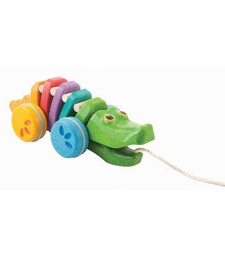 Plan Toys Plan Toys   Houten Trekfiguur   Dancing Alligator   Rainbow   1+