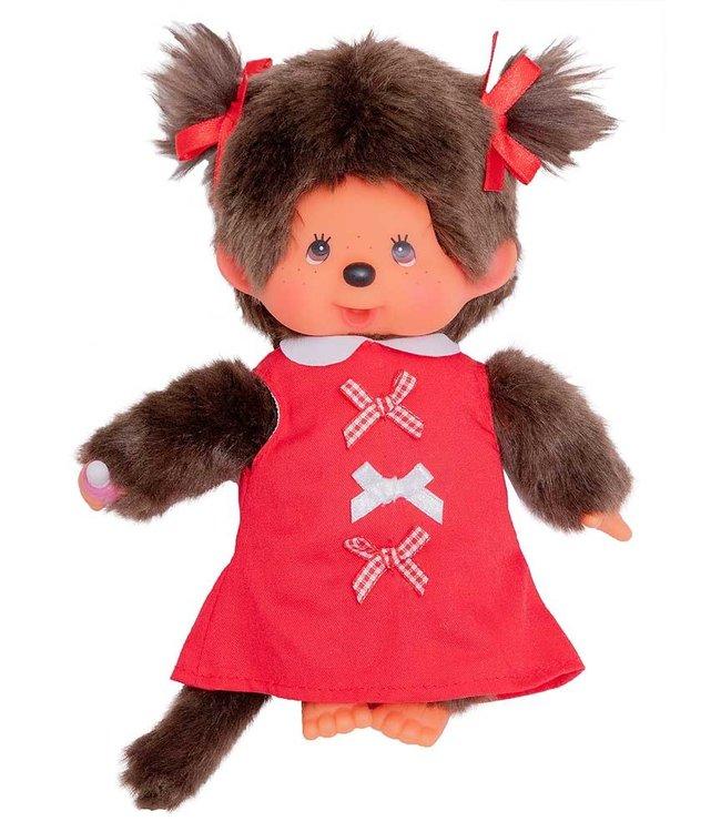 Monchhichi Meisje Red Ribbon Dress 19 cm 2+