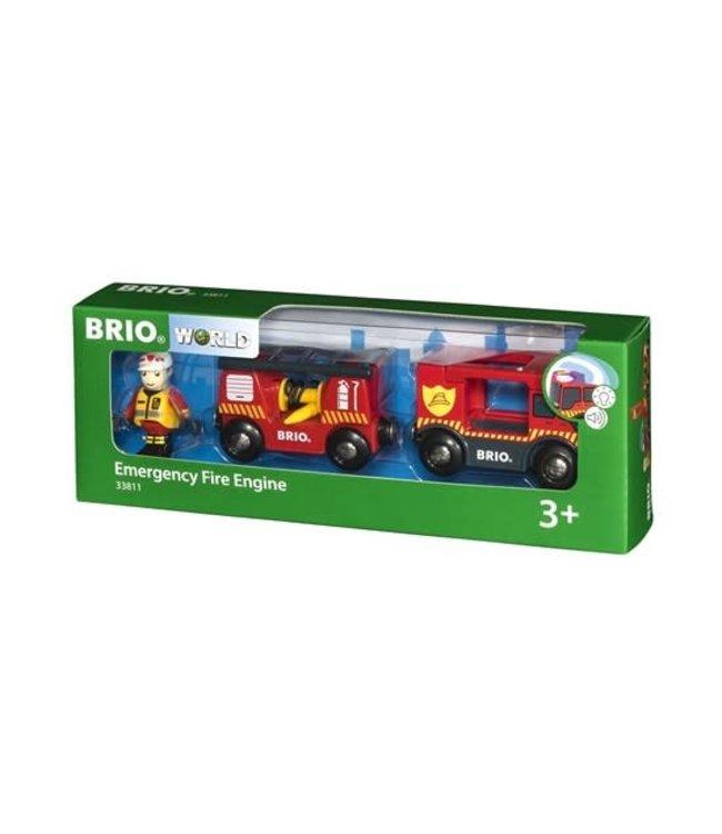 Brio Houten Treinbaan Reddingsbrigade Brandweerwagen 3+