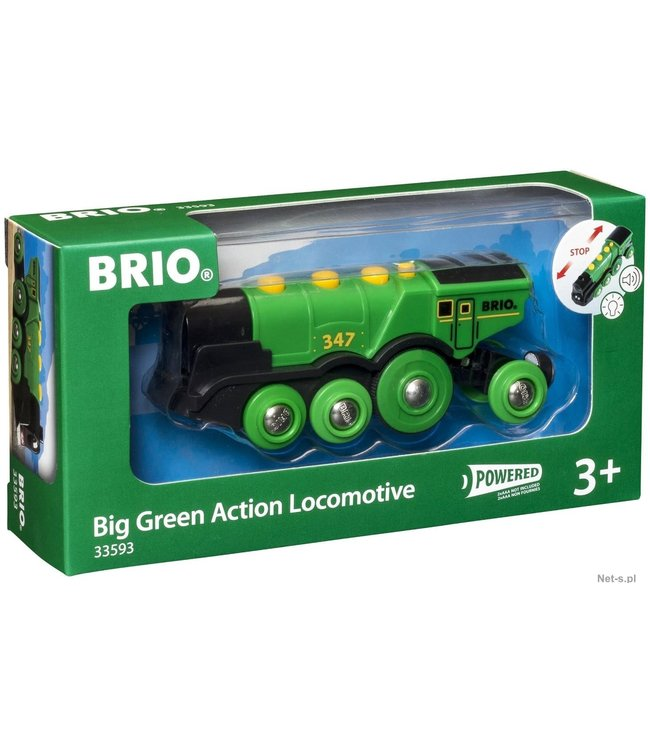 Brio Houten Treinbaan Mighty Green Action Locomotive Battery Operated 8 wheels 3+