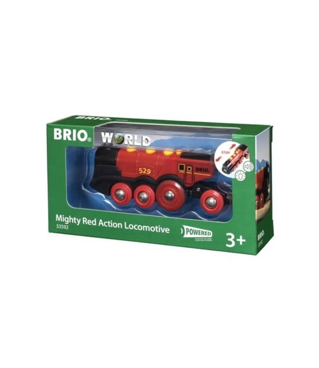 Brio Houten Treinbaan Mighty Red Action Locomotive Battery Operated 8 wheels 3+