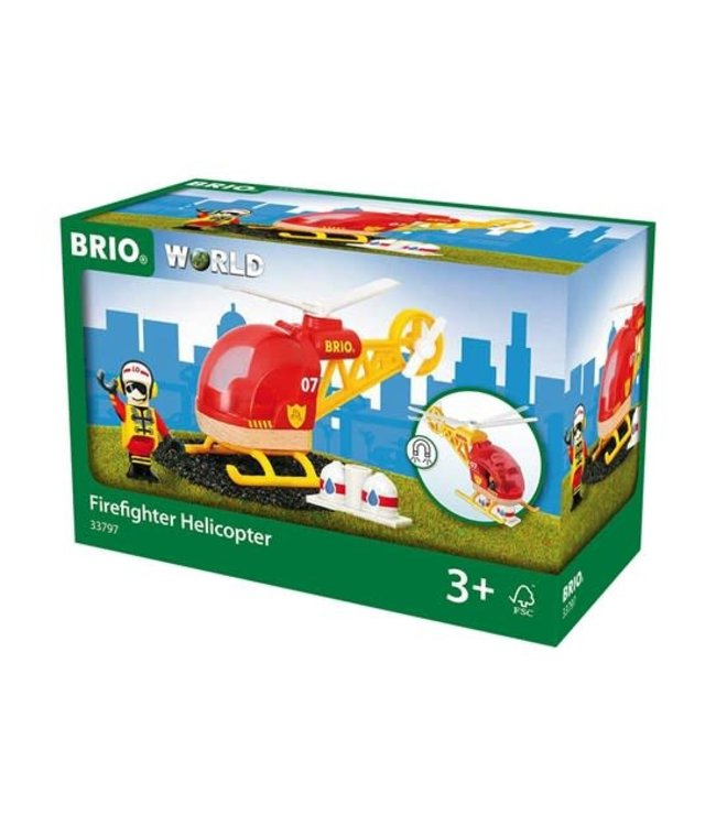 Brio Houten Treinbaan Brandweer Reddingshelikopter 3+