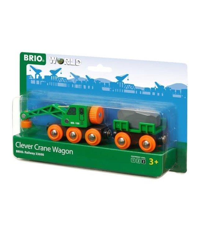 Brio Houten Treinbaan Clever Crane Wagon Kraanwagon 3+