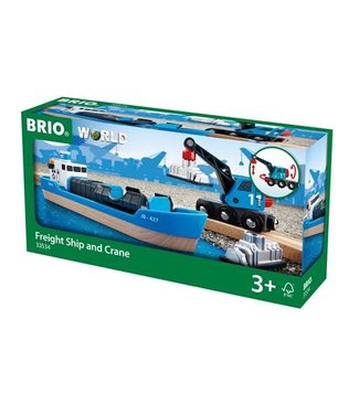 Brio Brio Houten Treinbaan Container and Crane Wagon Containerschip met Kraanwagen