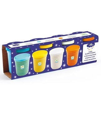 Djeco Djeco 4 Tubs of Play Dough Glittery 2+