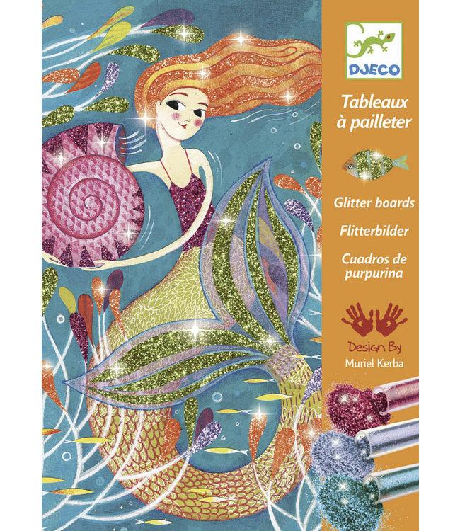 Djeco | Glitter Schilderijen | Het Licht van de Zeemeerminnen | 7-13 jaar