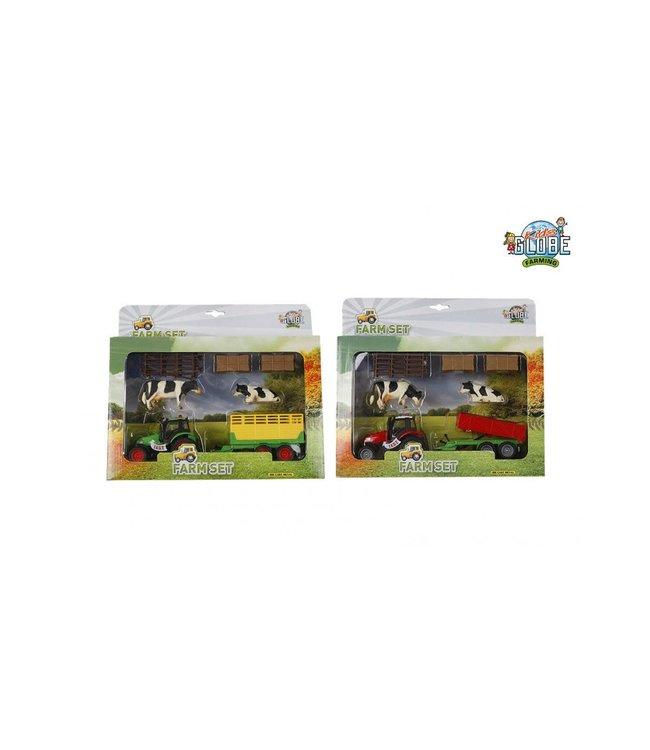Kids Globe Die Cast Traktor met Aanhanger en Acc 25 cm  3+