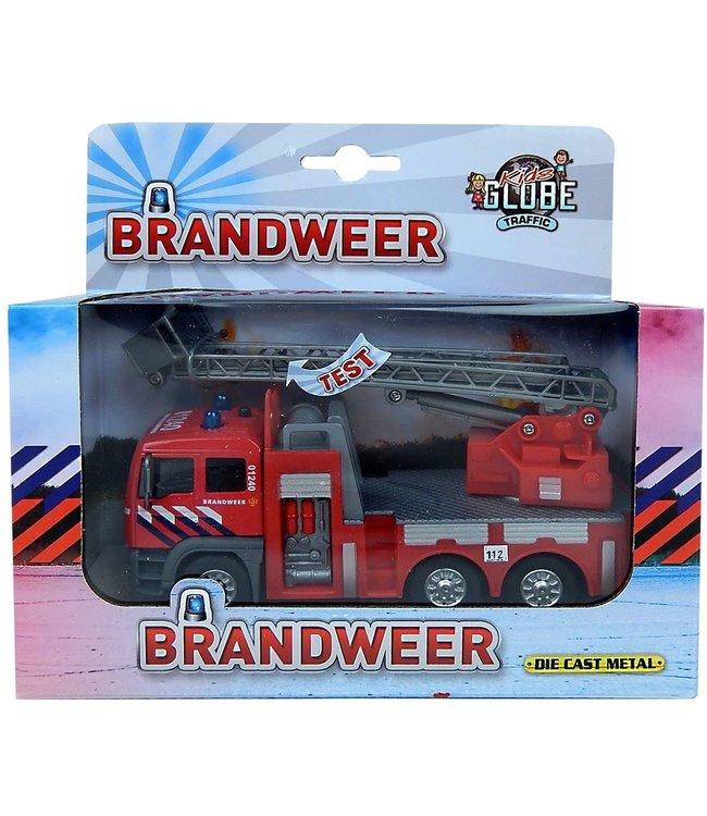 Kids Globe Brandweer Die-Cast Ladderwagen met Licht en Geluid 3+