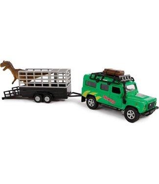Kids GLobe Kids Globe Die Cast pull back Landrover Dino transport 29 cm 3+