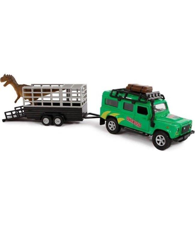 Kids Globe | Die Cast | Pull Back | Landrover Dino Transport | 29 cm  | 3+