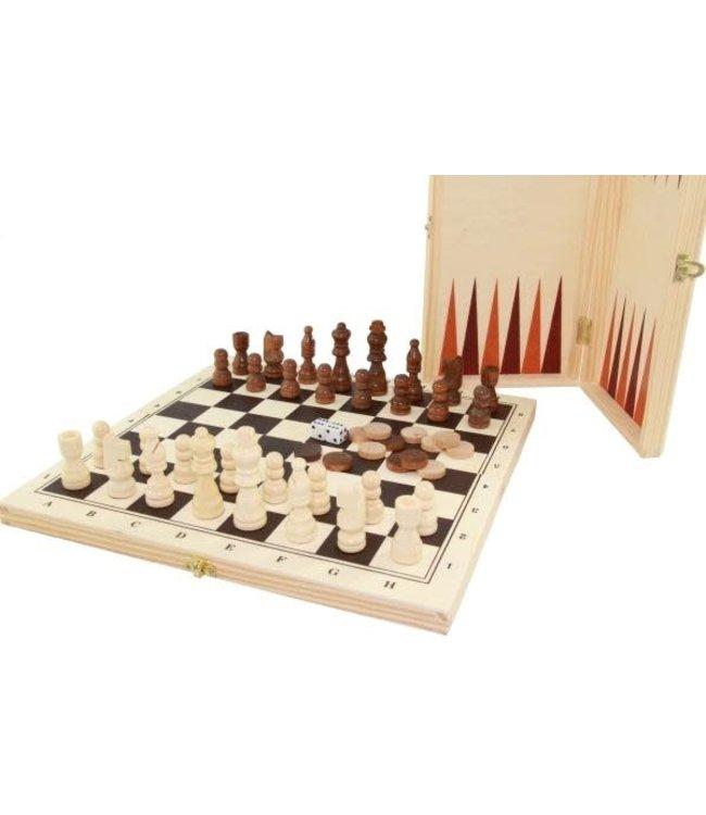 Houten Schaak- en Backgammonspel   Opklapbaar   8+