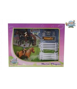 Kids Globe Speelset Twee Paarden met Ruiters en Accessoires 3+