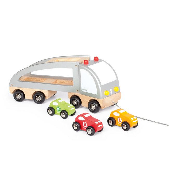 Janod Trekfiguur Vrachtwagen 3 Auto's Transporter 2+