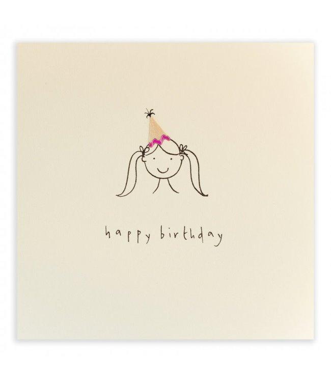 Pencil Shavings Cards by Ruth Jackson | Happy Birthday | Hat Girl