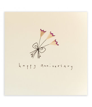 Ruth Jackson Pencil Shavings Cards by Ruth Jackson | Happy Anniversary | pink Flowers
